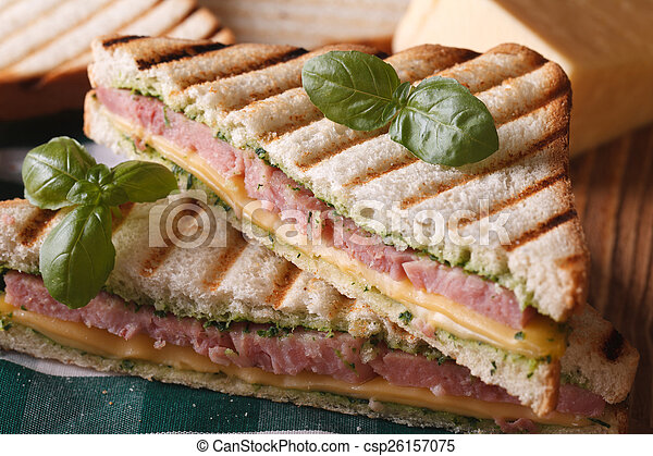 Grilled sandwich with ham, cheese and basil closeup - csp26157075
