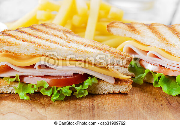 Grilled sandwich with ham cheese - csp31909762
