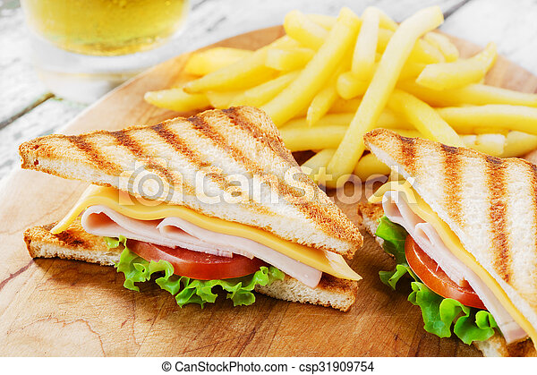 Grilled sandwich with ham cheese - csp31909754