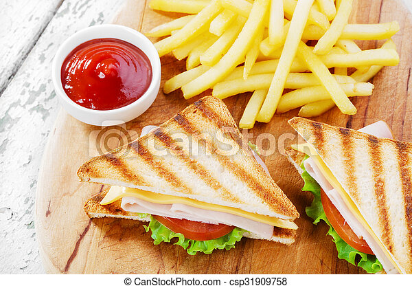 Grilled sandwich with ham cheese - csp31909758