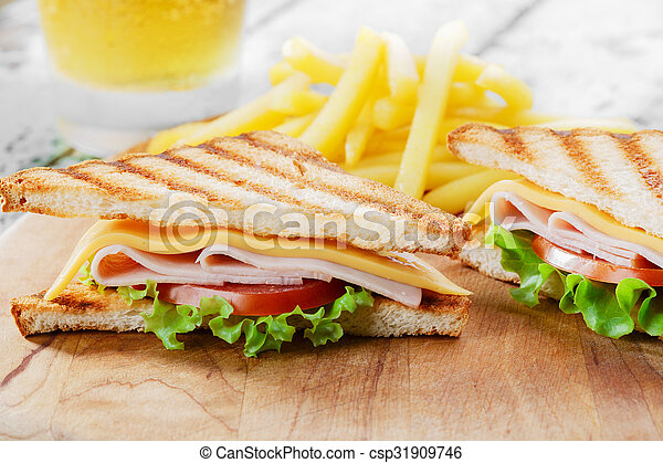 Grilled sandwich with ham cheese - csp31909746