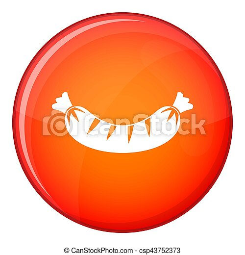 Grilled sausage icon, flat style - csp43752373