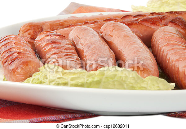 grilled sausages on a plate - csp12632011