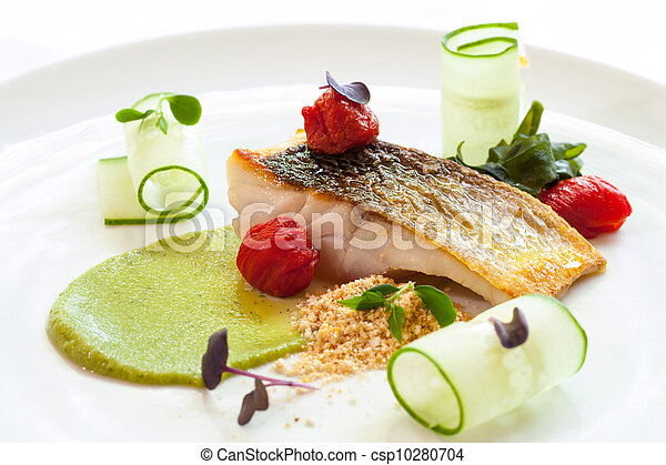 Grilled seabass with cherry tomatoes and avocado. - csp10280704