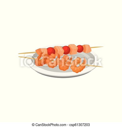 Grilled shrimps on a skewer and salmon kebab vector Illustration on a white background - csp61307203