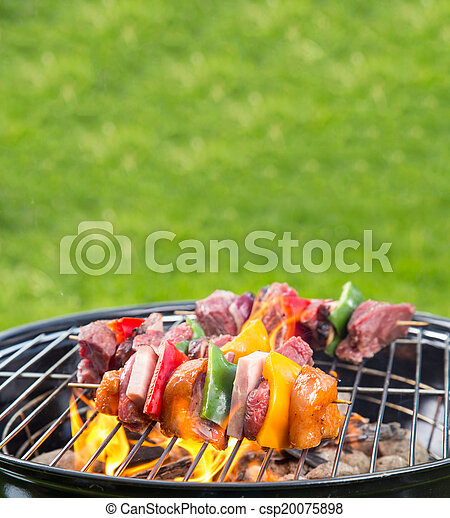 Grilled skewer on fire - csp20075898