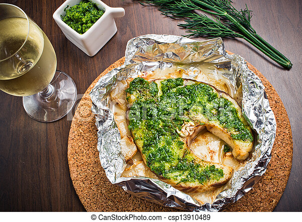 Grilled swordfish fillet with pesto - csp13910489