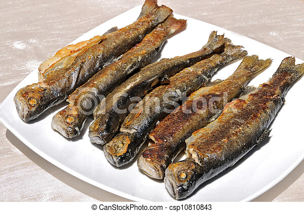 Grilled trout on white plate - csp10810843
