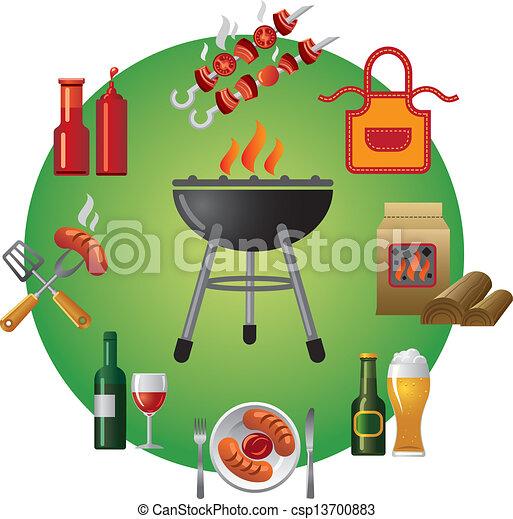 grillsütő, ikon - csp13700883