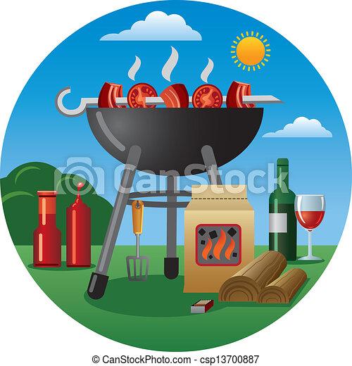 grillsütő, ikon - csp13700887