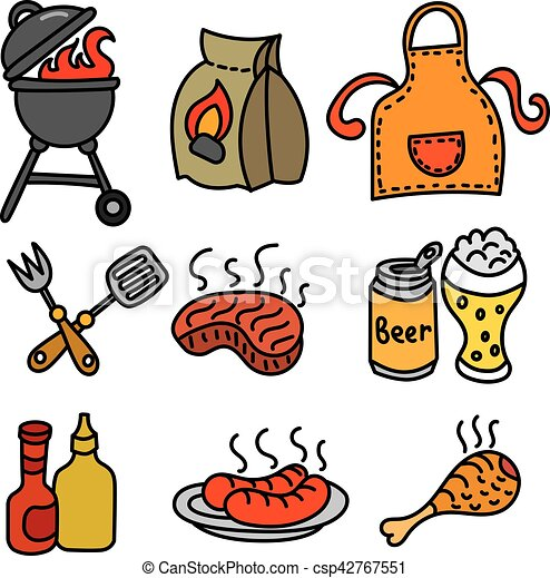 grillsütő, piknik, ikonok - csp42767551