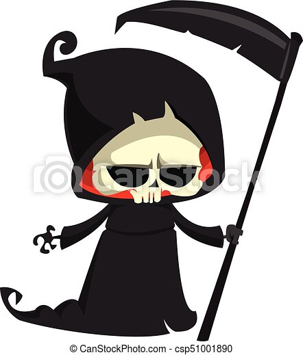grim reaper cartoon character with scythe isolated on a eps rh canstockphoto com grim reaper clipart black and white
