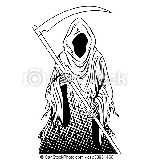 Grim Reaper Coloring Book Vector Grim Reaper Coloring Vector Illustration Isolated Image On White Background Comic Book Canstock