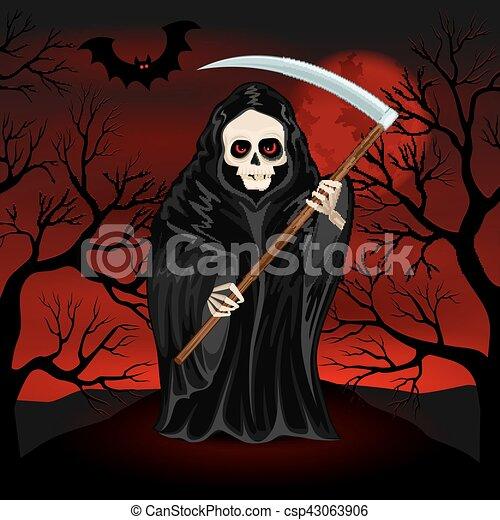 Grim Reaper for Halloween - csp43063906