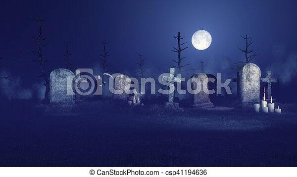 Grim Reaper On Spooky Night Graveyard Abandoned Sinister