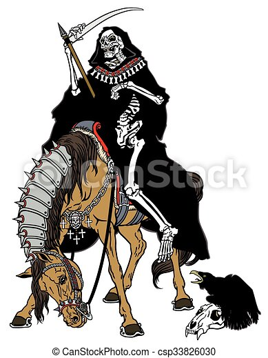 Grim Reaper Sitting On A Horse Grim Reaper Symbol Of Death And Time