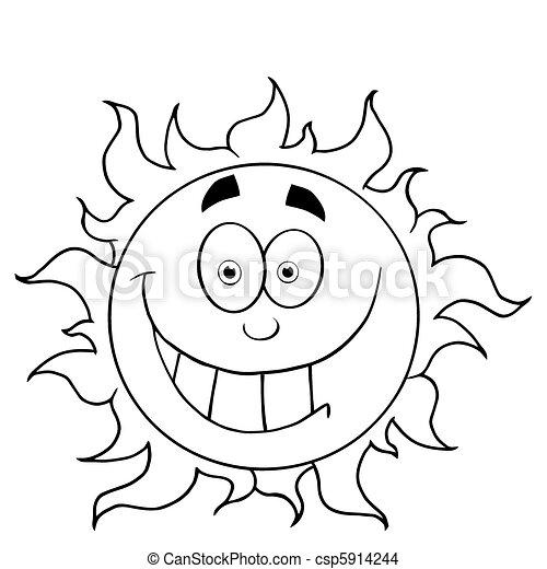 grimacer, soleil, esquissé - csp5914244
