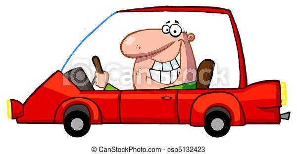 grimacer, voiture, type, rouges, conduite - csp5132423