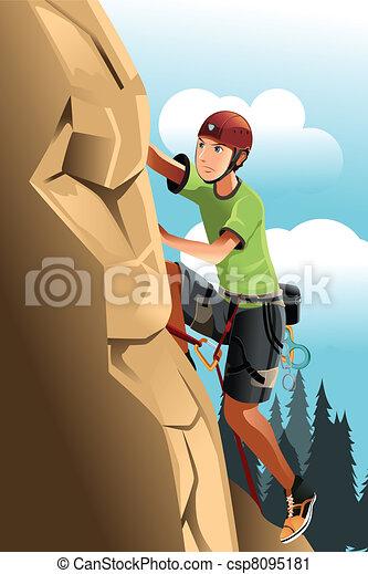 grimpeur, rocher - csp8095181
