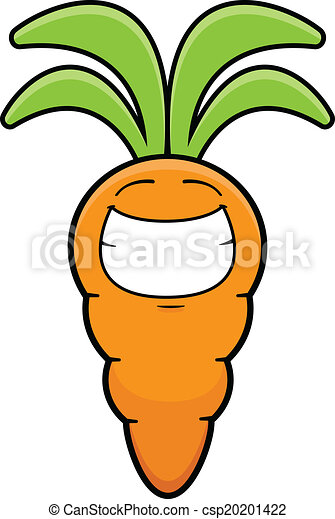 Grinning Cartoon Carrot - csp20201422