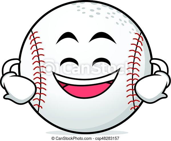 grinning face baseball cartoon character vector art