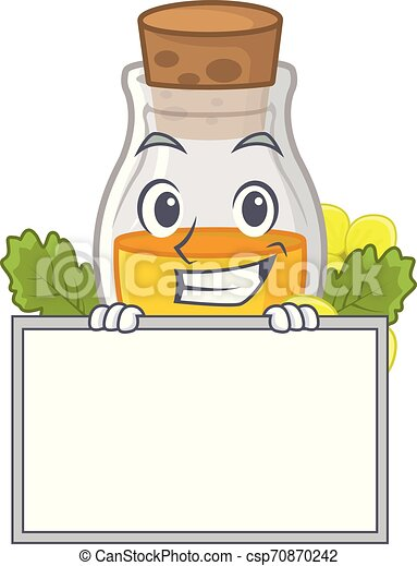 Grinning with board mustard oil packaged in carton bottle - csp70870242