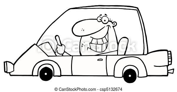 grinsen, auto, umrissen, fahren, mann - csp5132674