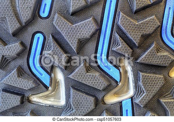 Grip technology for trekking shoes closeup.