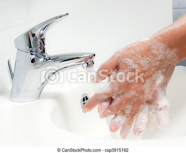 grippe, contre, hn1, laver, protection, porcs, nouveau, hands. - csp3915162