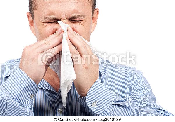 grippe, jeune homme - csp3010129