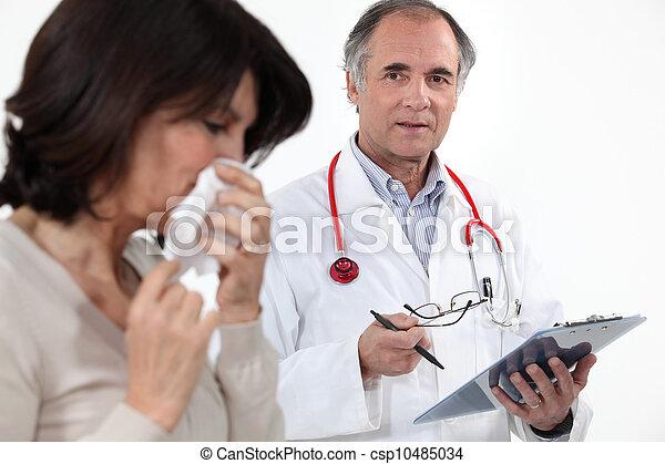 grippe, patient, docteur féminin - csp10485034
