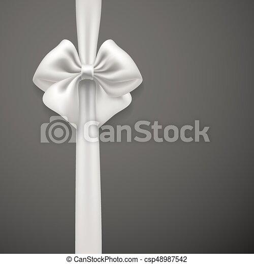 Un lazo blanco en el fondo gris. Vector - csp48987542