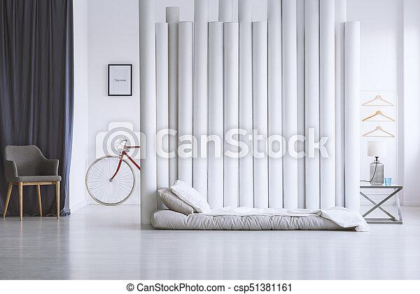 Gris Blanc Chambre à Coucher
