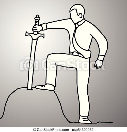 Hombre de negocios sosteniendo la espada del Rey Arturo en el vector de la roca ilustración mano de dibujo de garabato dibujado con líneas negras aisladas en el fondo gris. Desafía el concepto de negocios. - csp54392082