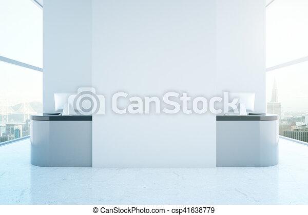 Gris bureau réception. ville haut banner. bureau moderne gris