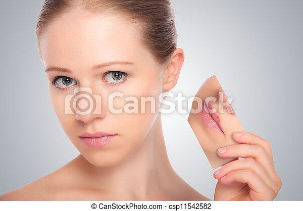 gris, concept, acné, beauté, problèmes, lèvres, rougeur, jeune, skincare, femme, fond, peau, eruption, herpès - csp11542582