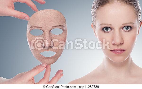 gris, concept, beauté, après, masque, jeune, skincare, femme, fond, peau, procédure, avant - csp11283789