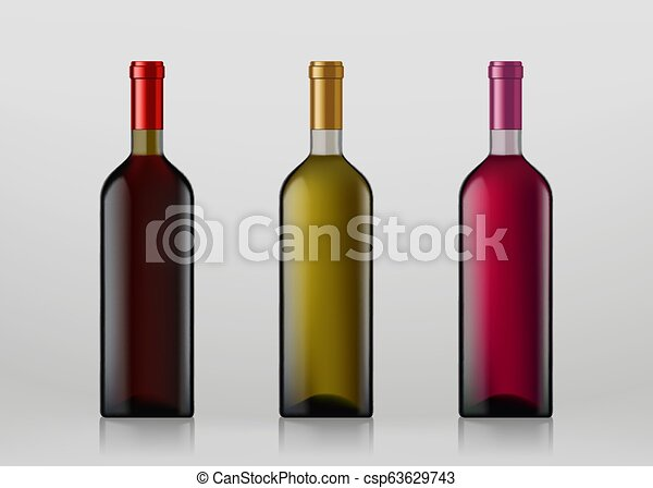 Botellas de vino. Aislado de fondo gris. - csp63629743