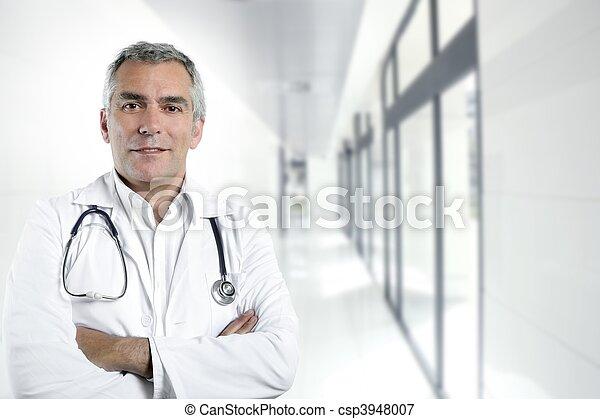 gris, docteur, hôpital, cheveux, compétence, portrait, personne agee - csp3948007