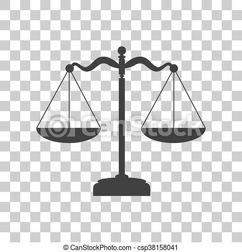 Señal de equilibrio de escamas. Un icono gris oscuro en el fondo transparente. - csp38158041