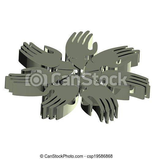 gris, gens, collaboration, mains, icône, 3d - csp19586868