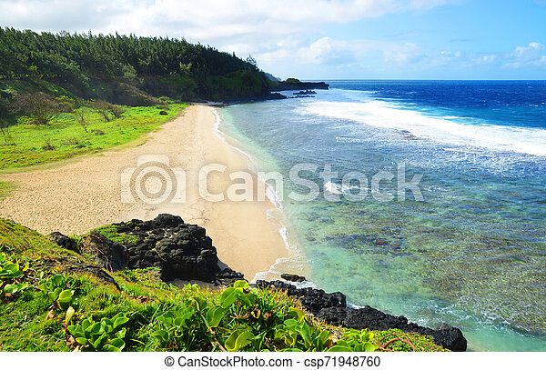 Gris Gris beach on south of tropical island Mauritius. - csp71948760