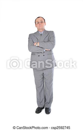 gris, homme, stands, complet - csp2592745