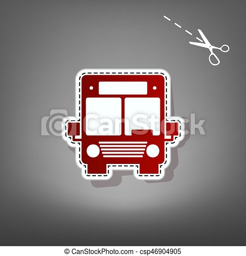 Ilustración de letreros de autobús. Vector. Un icono rojo con un aparato de papel con sombra en el fondo gris con tijeras. - csp46904905