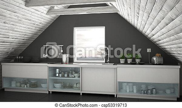 Cocina industrial escandinava, entresuelo, arquitectura de ...