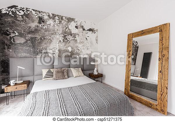 Gris, king-size, lit, chambre à coucher. Papier peint,... image ...