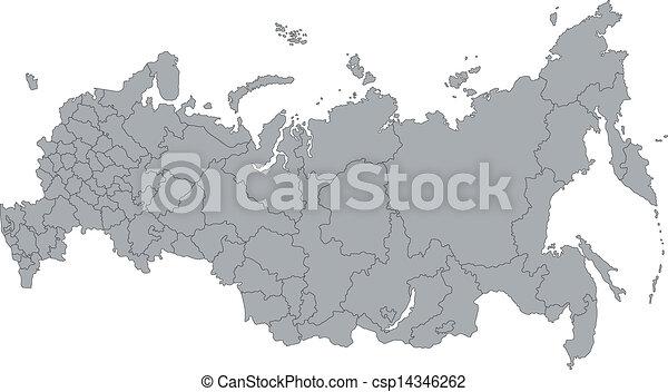 Mapa de Rusia gris - csp14346262