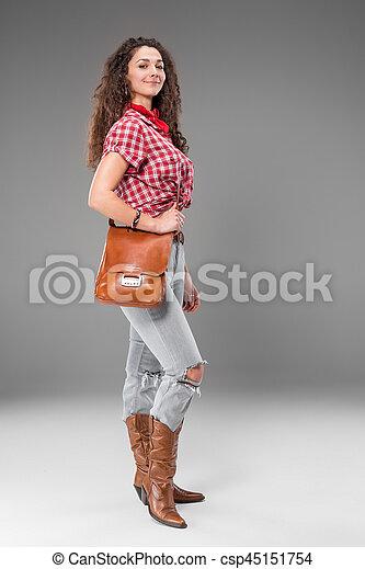 Gris, moda, vaquera, encima, mujer, plano de fondo. Gris ...