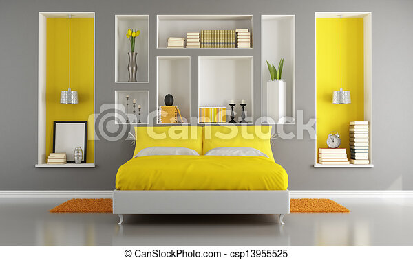 Gris, moderne, jaune, chambre à coucher. Gris, niche,... clip art ...