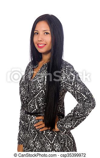 Vestido blanco pelo negro